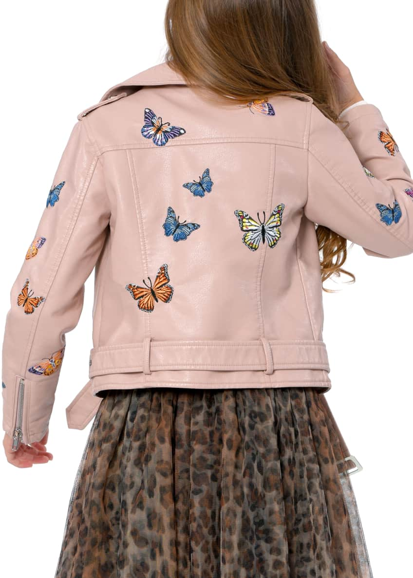 Image 3 of 3: Girl's Vegan Leather Butterfly Moto Jacket, Size 7-14