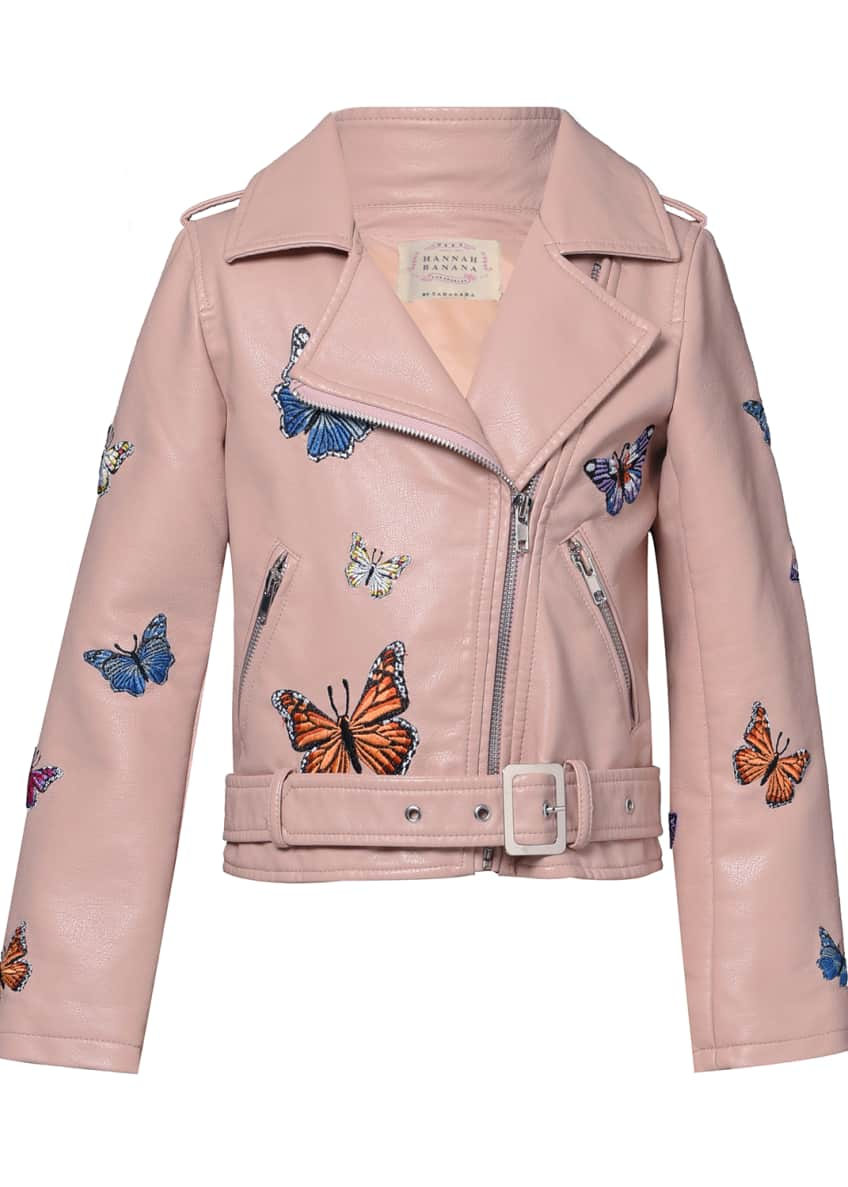 Image 1 of 3: Girl's Vegan Leather Butterfly Moto Jacket, Size 7-14