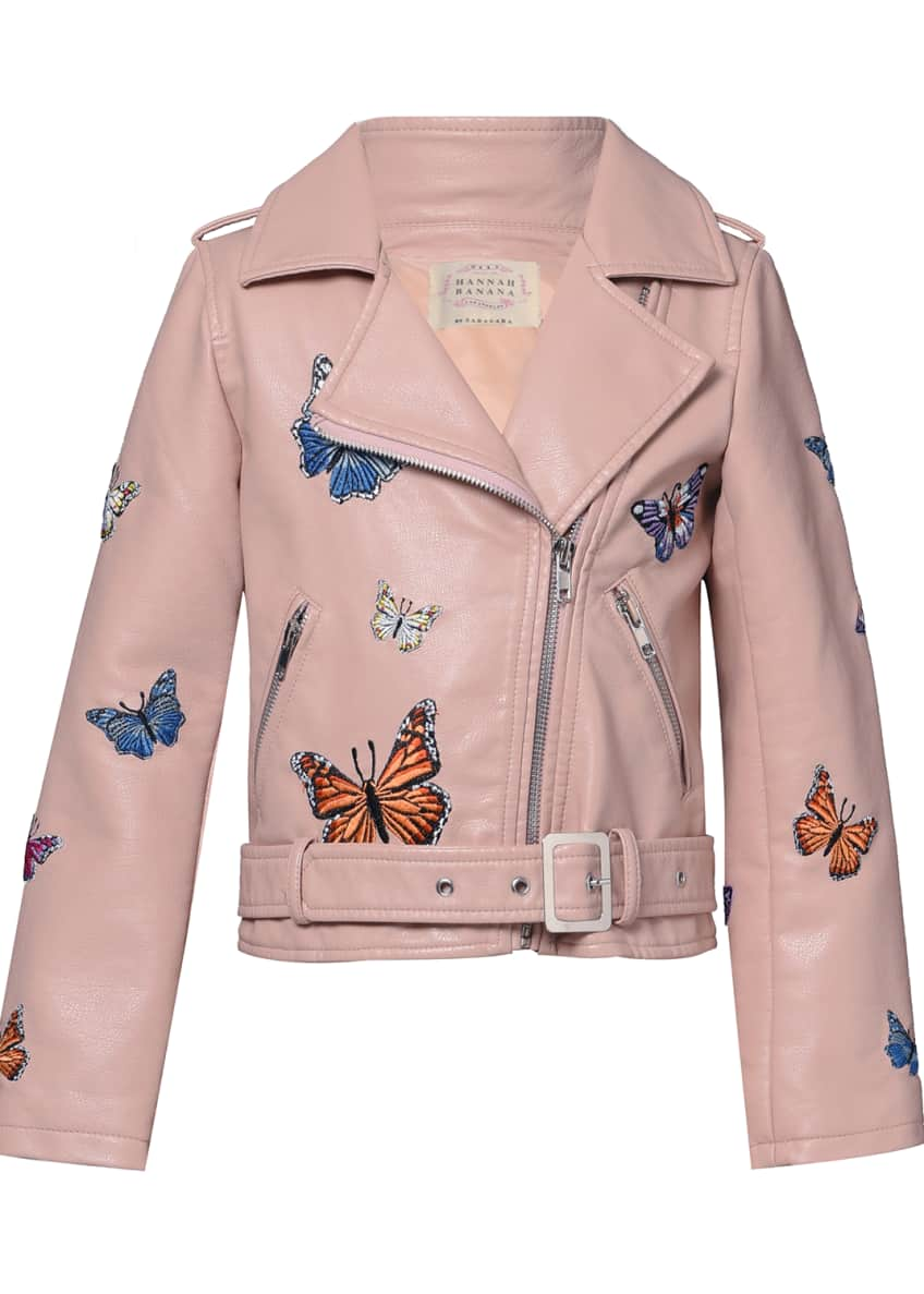 Image 1 of 6: Girl's Vegan Leather Butterfly Moto Jacket, Size 4-6X