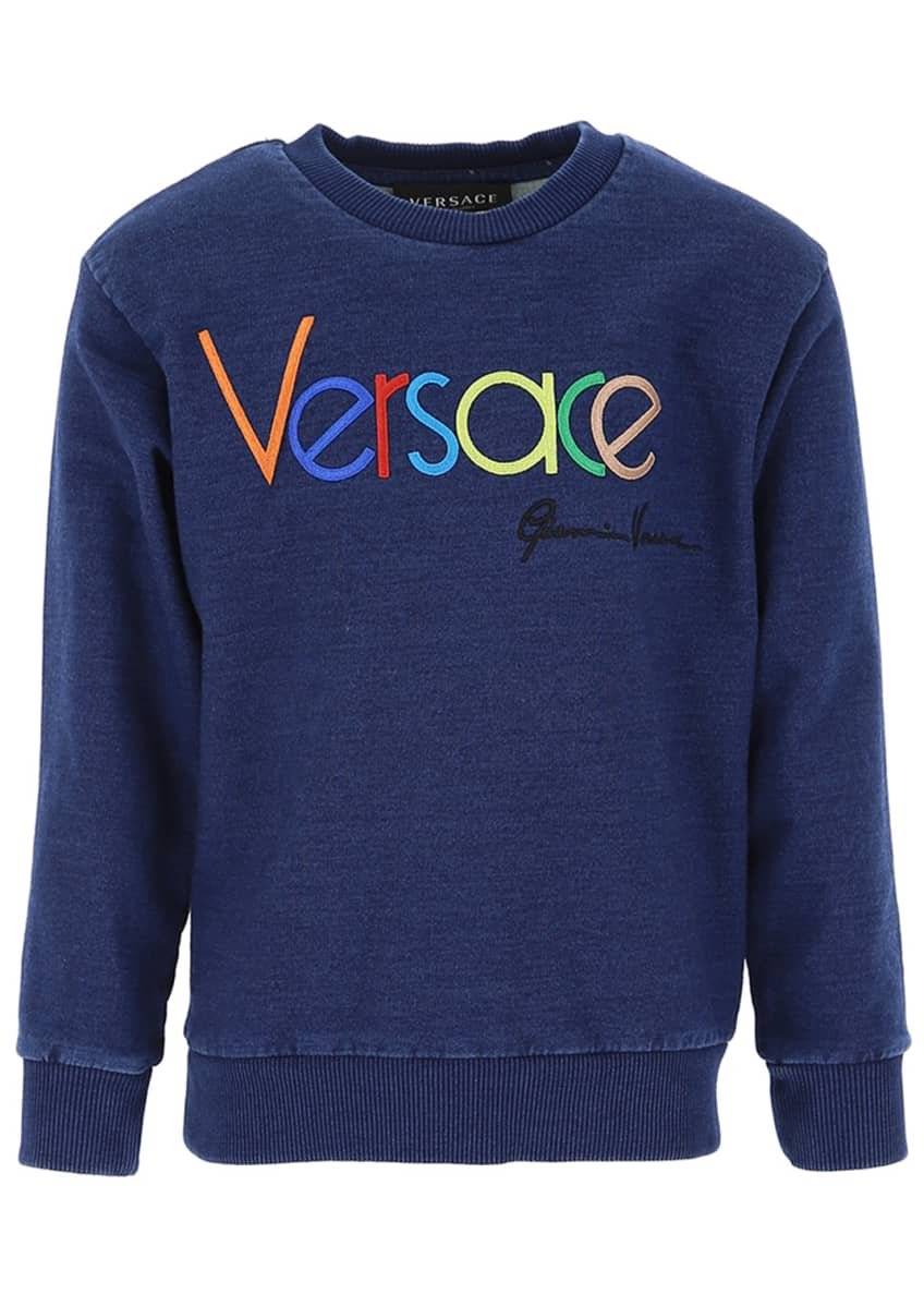 Image 1 of 2: Kid's Embroidered Rainbow Logo Sweatshirt, Size 8-14
