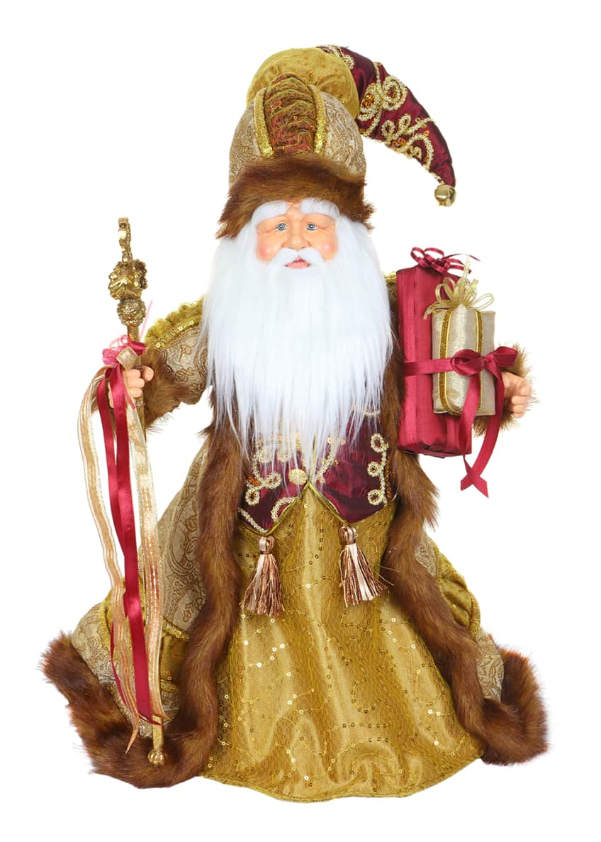 "Image 1 of 1: 18"" Gold/Burgundy Cone Santa"