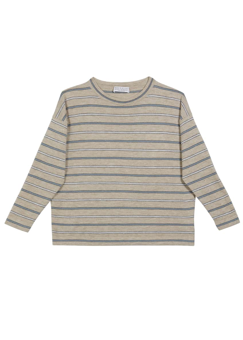 Image 1 of 1: Girl's Cashmere Metallic Striped Long-Sleeve Tee, Size 12-14