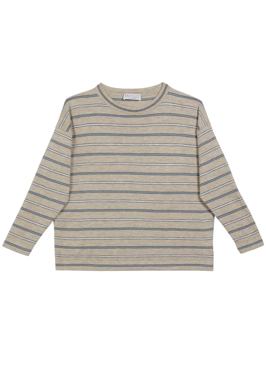 Image 1 of 2: Girl's Cashmere Metallic Striped Long-Sleeve Tee, Size 4-6