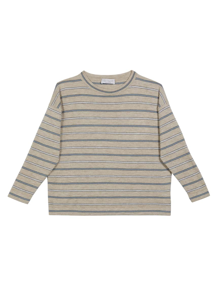 Image 1 of 1: Girl's Cashmere Metallic Striped Long-Sleeve Tee, Size 8-10