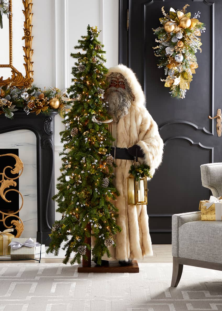 Image 1 of 1: Golden Opulence Black Santa with Lighted Tree, 57""