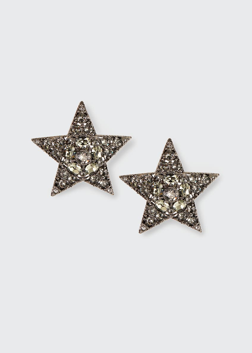 Image 1 of 1: Large Pave Star Clip Earrings