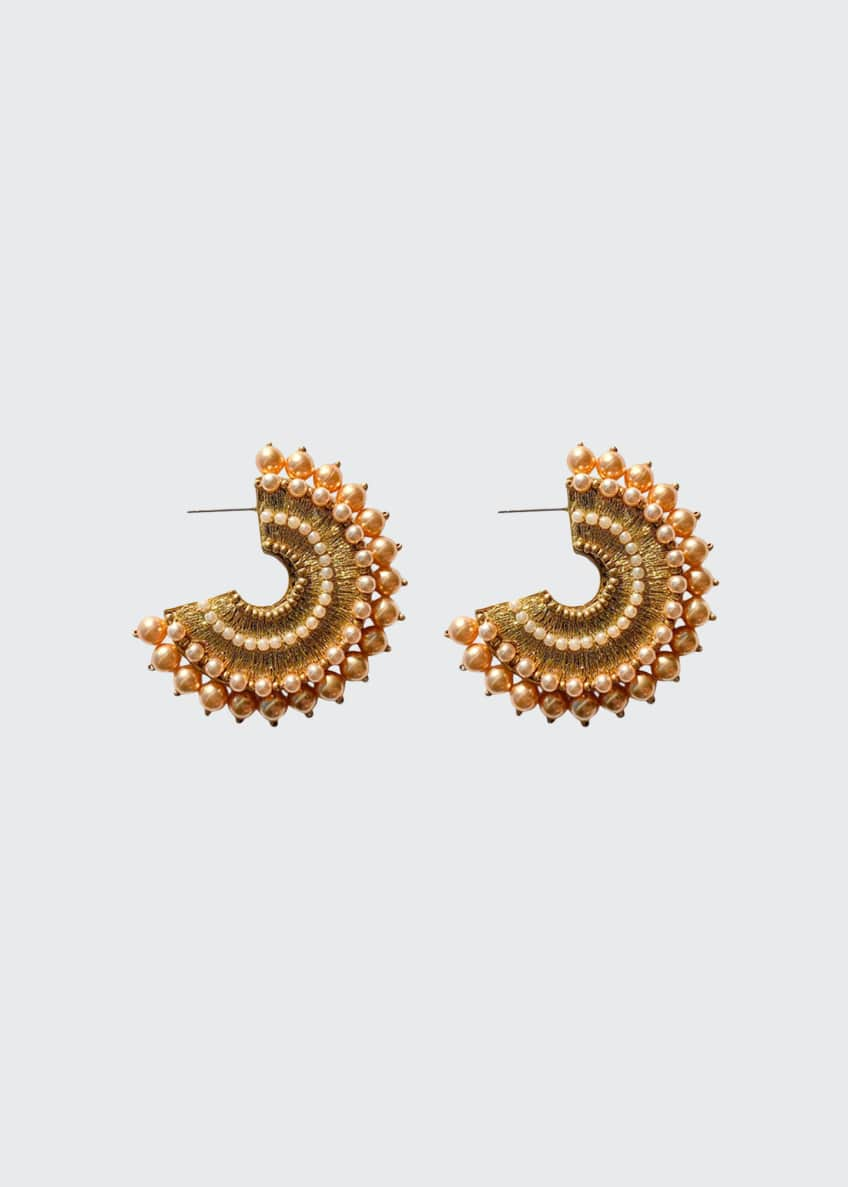 Image 1 of 1: Mini Pearl Fiona Hoop Earrings