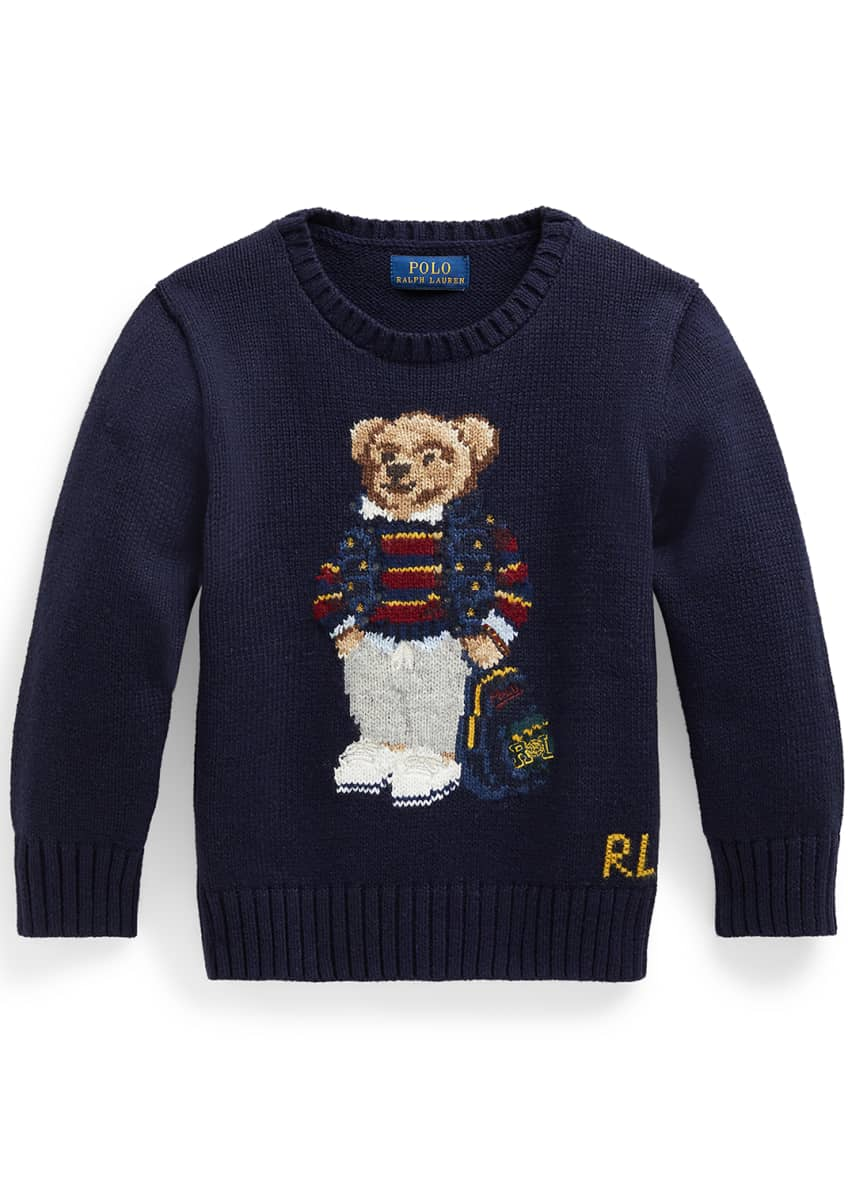 Image 1 of 2: Boy's Polo Bear Intarsia Embroidered Knit Sweater, Size 5-7