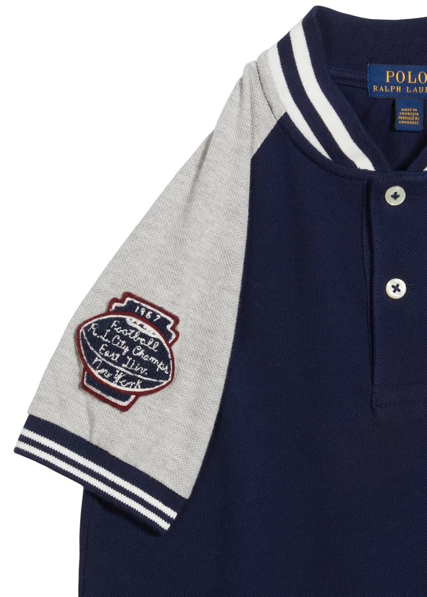 Image 3 of 3: Boy's Football Embroidered Logo Shirt, Size 5-7