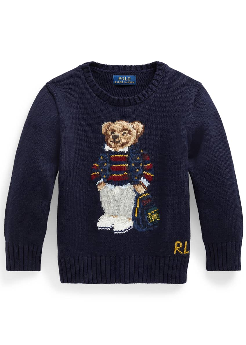 Image 1 of 4: Boy's Polo Bear Intarsia Embroidered Knit Sweater, Size 2-4