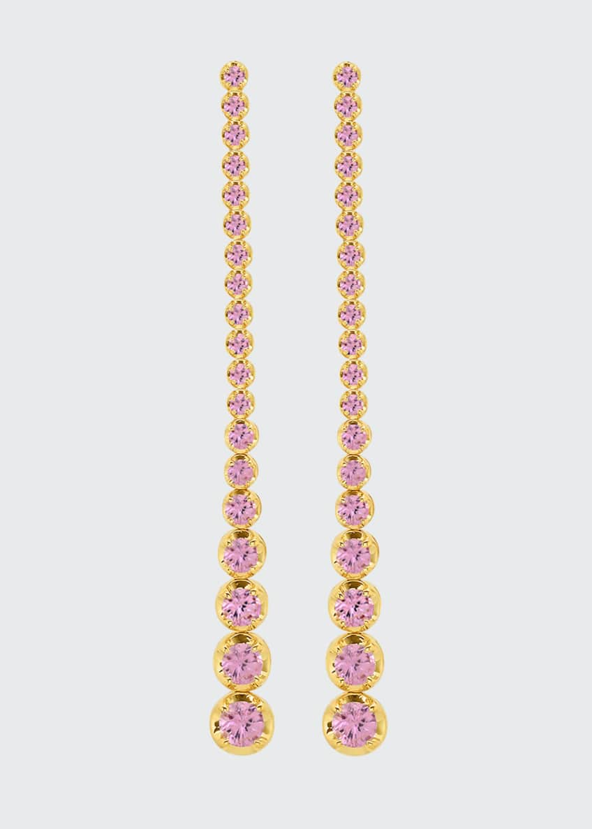 Image 1 of 1: 18k Yellow Gold Long Graduated Pink Sapphire Tennis Stud Earrings