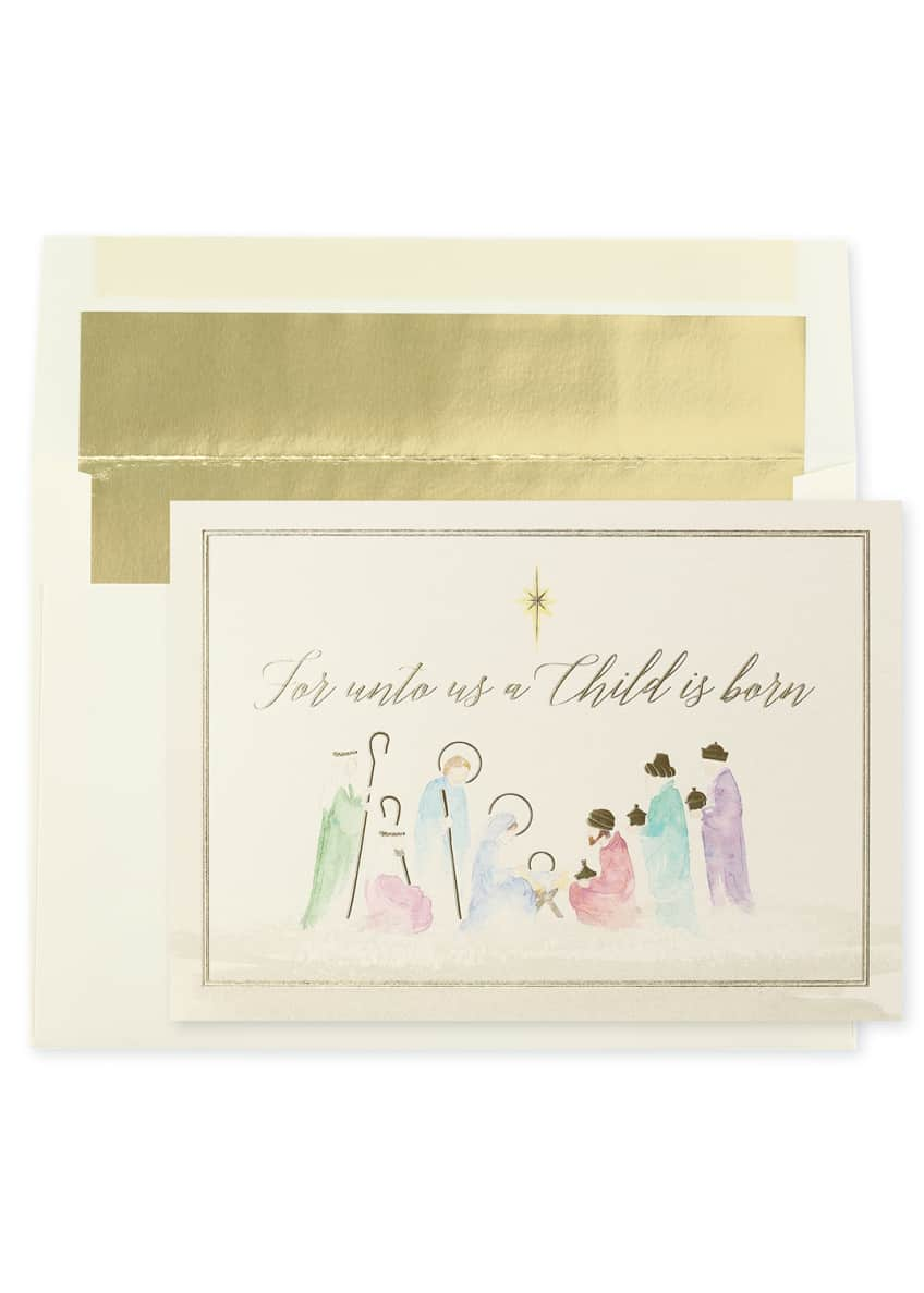 Watercolor Nativity Holiday Cards, Set of 25