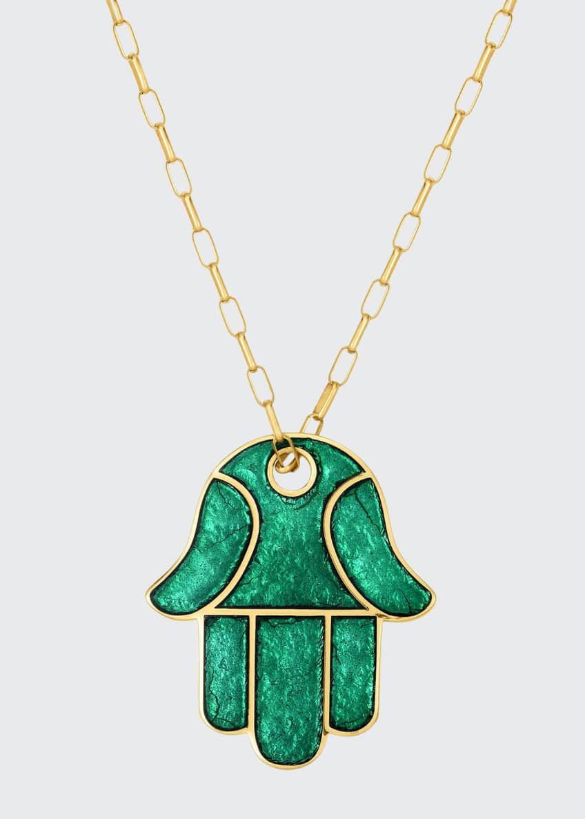 "Image 1 of 1: Hamsa Enamel Pendant Necklace, 28""L"