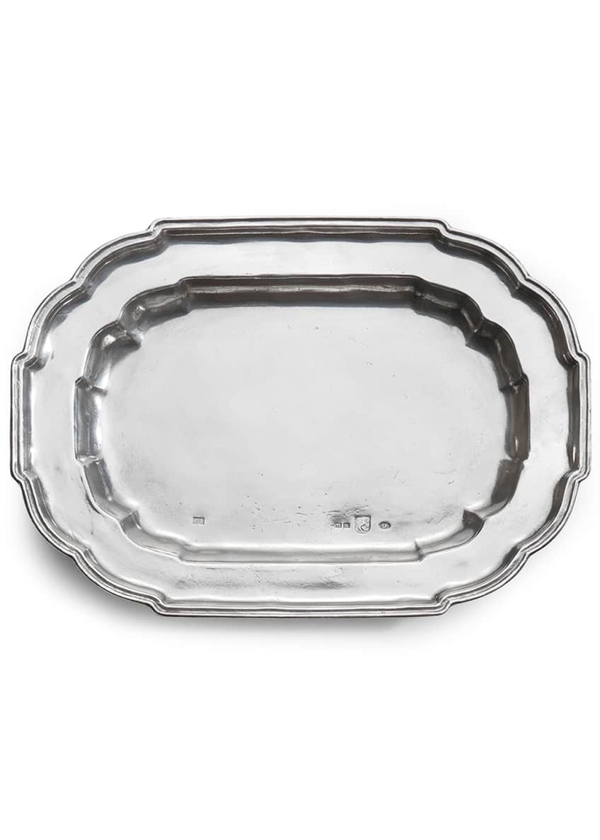 Image 1 of 1: Vintage Large Oval Scalloped Tray