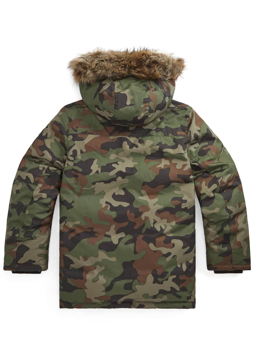 Image 2 of 3: Boy's Camo Plainweave Hooded Parka, Size S-L