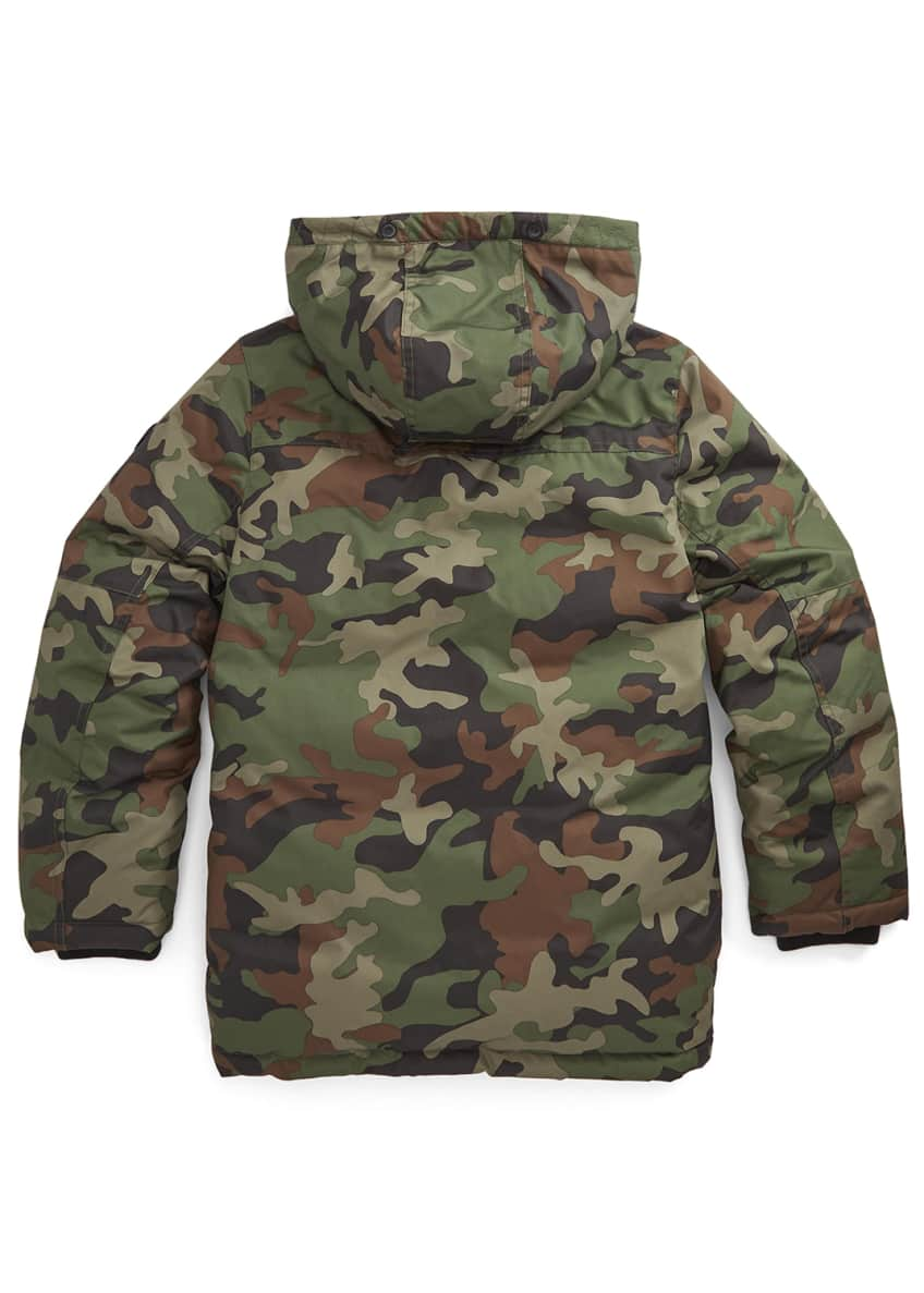 Image 3 of 3: Boy's Camo Plainweave Hooded Parka, Size S-L