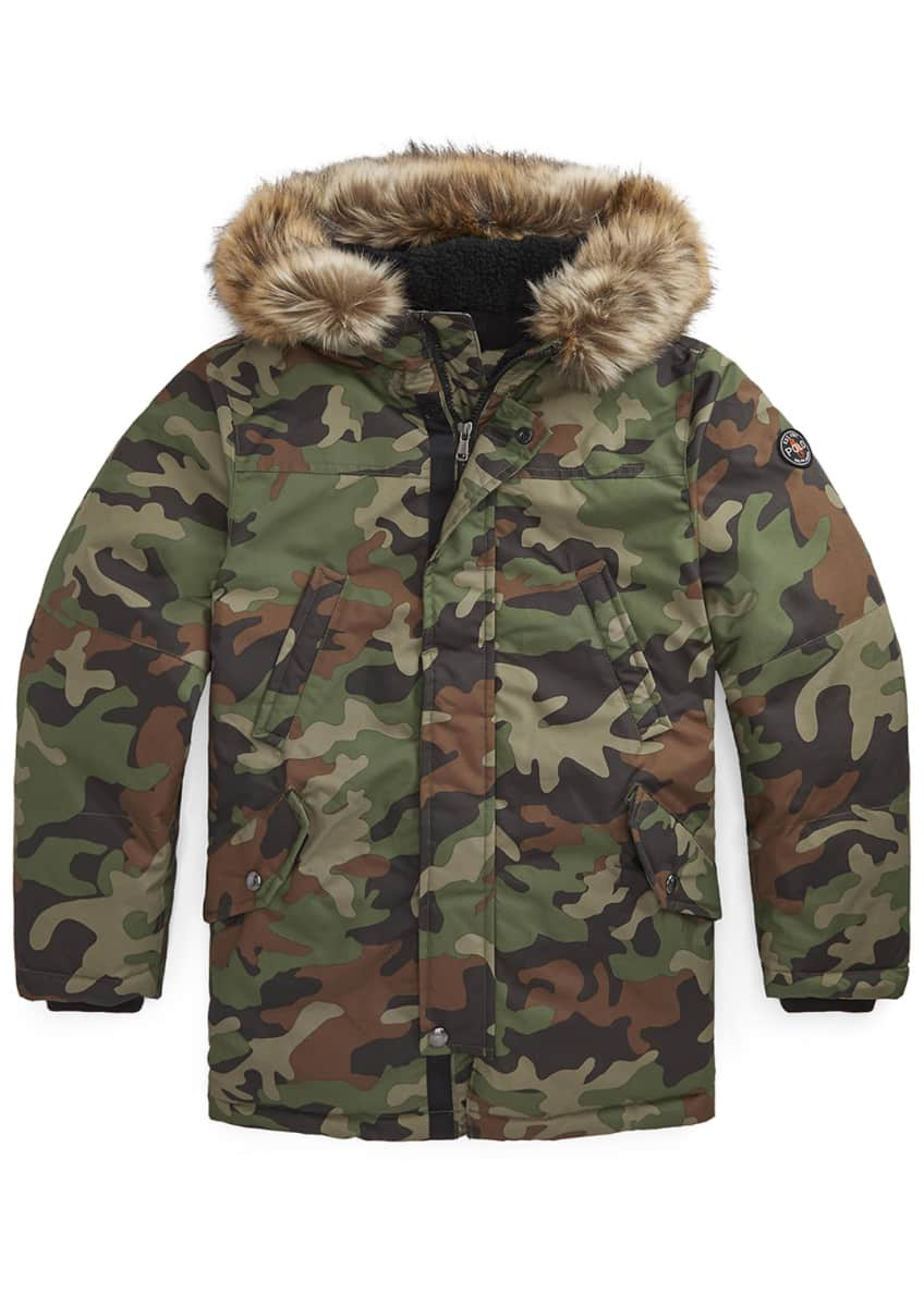 Image 1 of 3: Boy's Camo Plainweave Hooded Parka, Size S-L