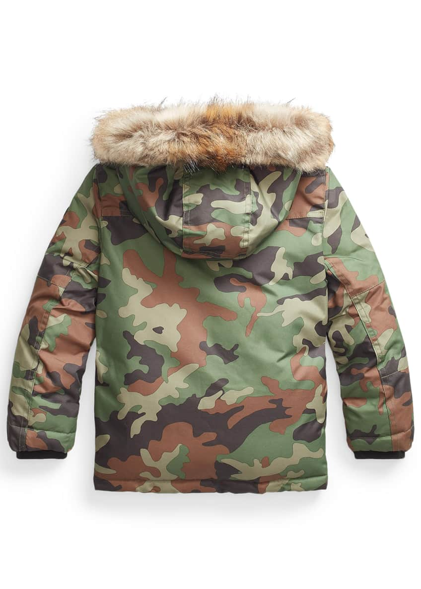 Image 2 of 2: Boy's Camouflage Faux-Fur Hooded Puffer Coat, Size 5-7