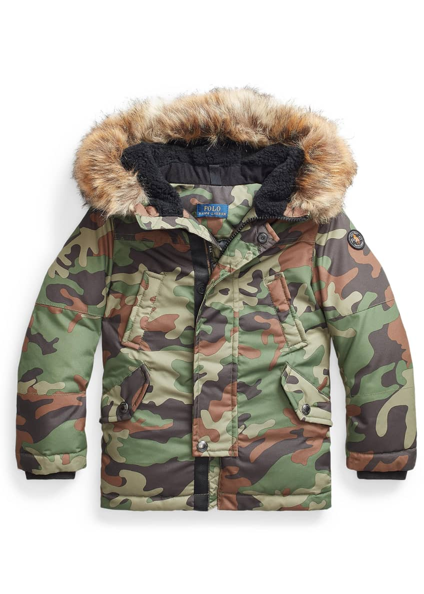Image 1 of 2: Boy's Camouflage Faux-Fur Hooded Puffer Coat, Size 5-7