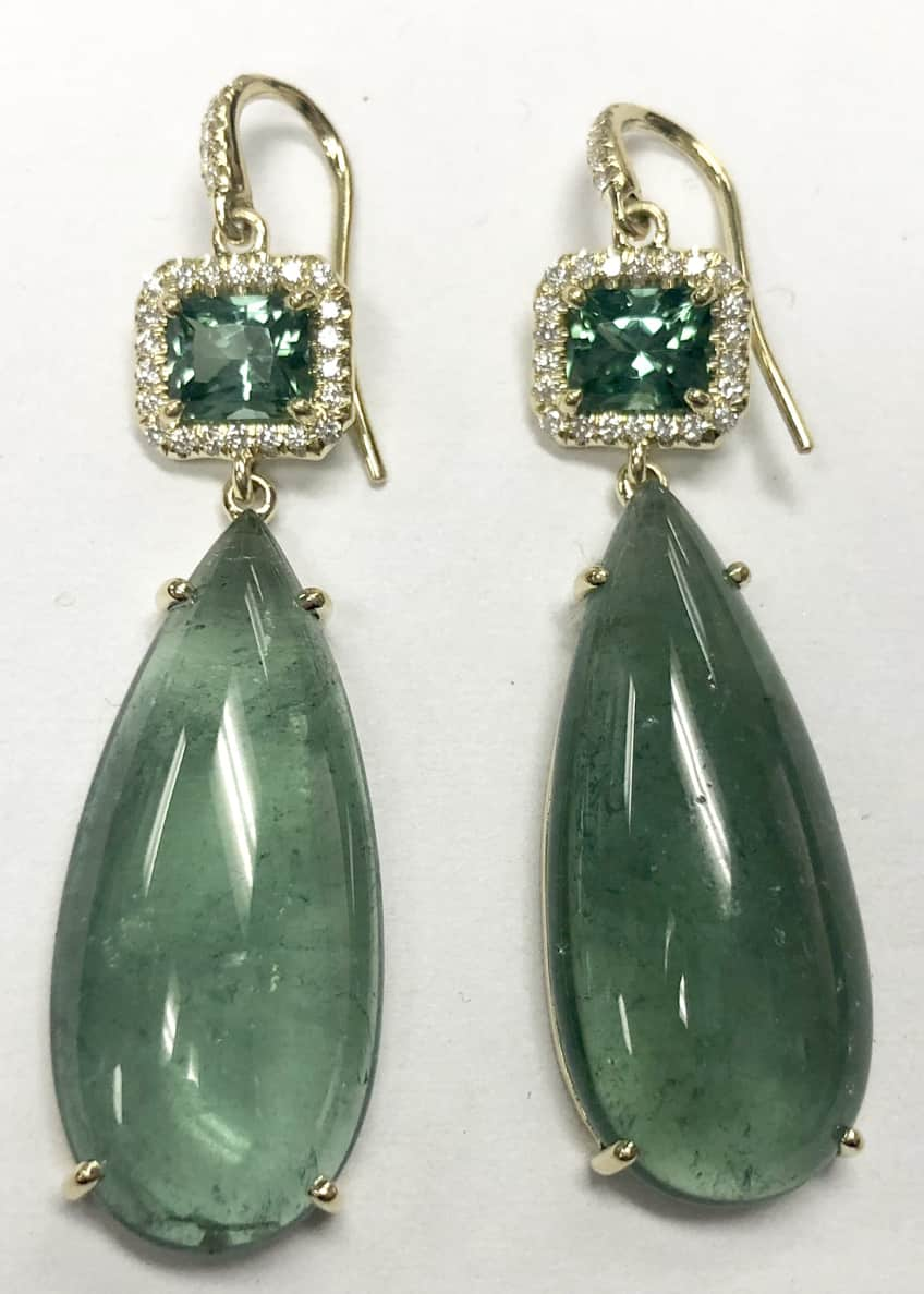 Image 1 of 1: Green Tourmaline Gemma Earrings with Diamonds