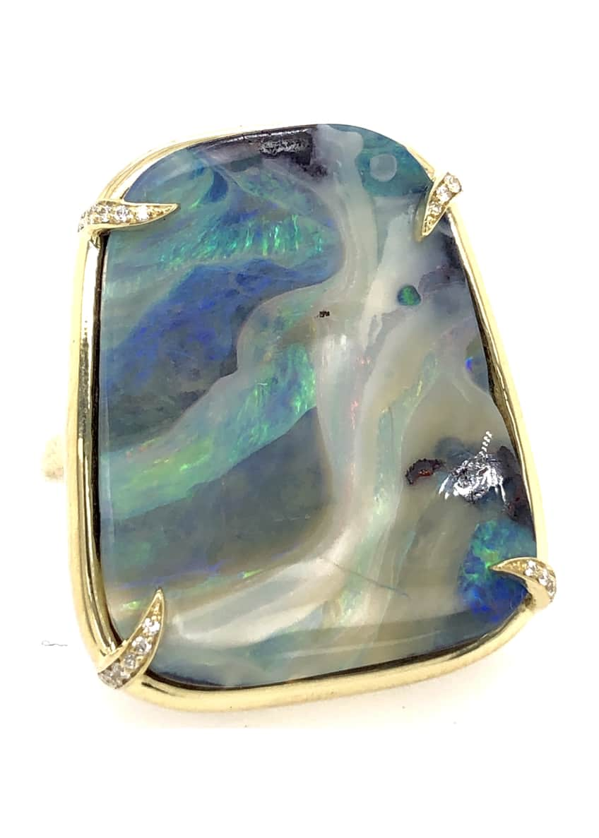 Image 1 of 1: 18k Boulder Opal Whisper Ring with Diamonds