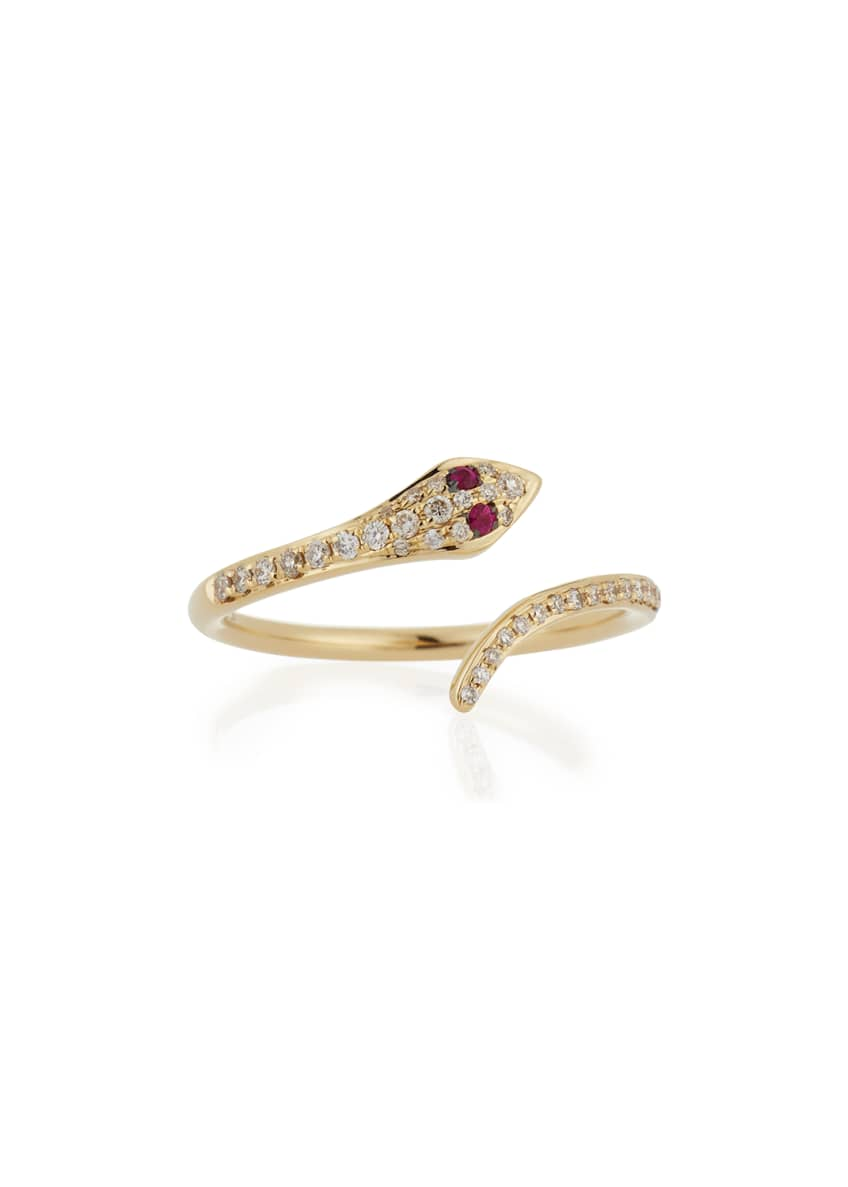 EF Collection 14k Gold Diamond Snake Ring