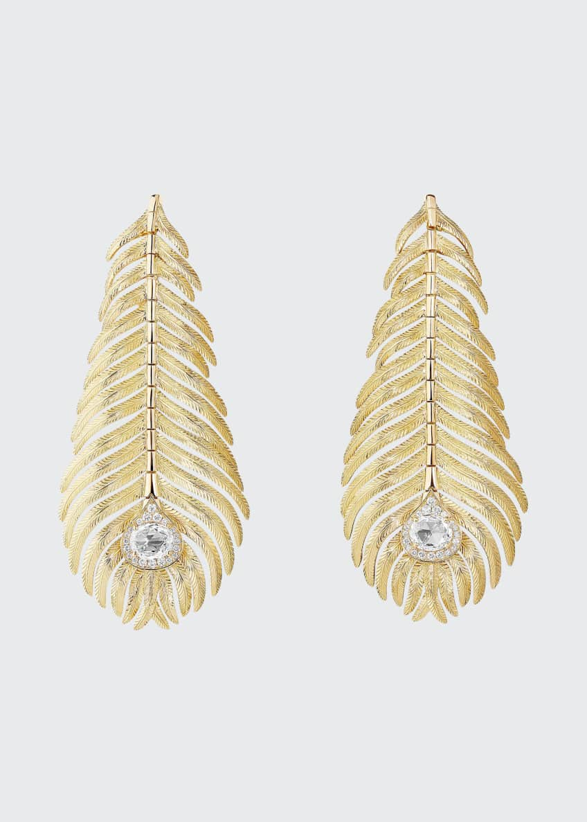 Image 1 of 1: Plume de Paon Diamond Pendant Earrings