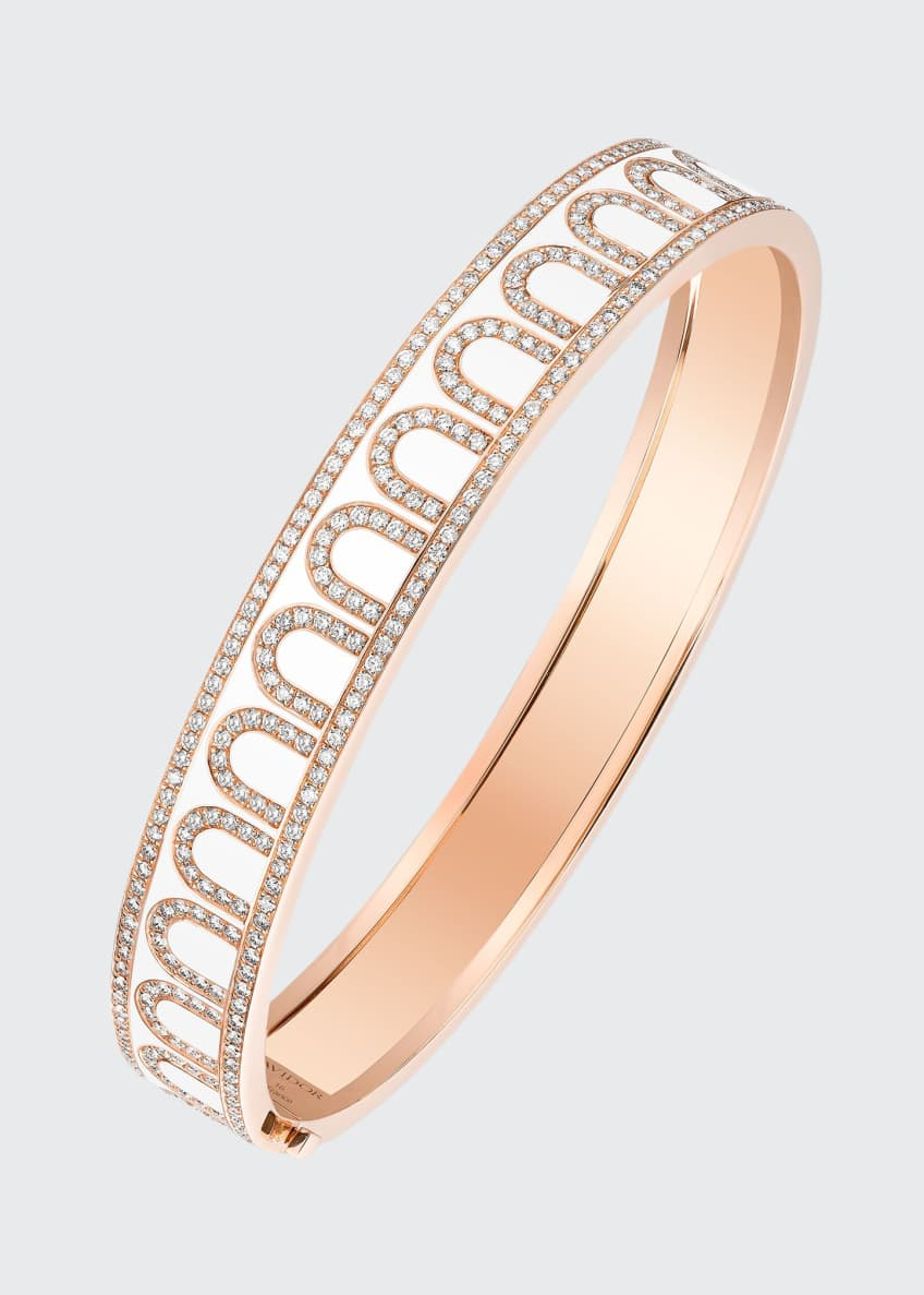 Image 1 of 1: L'Arc de Davidor 18k Rose Gold Palais Diamond Bangle - Medium Model, Neige, Size 16