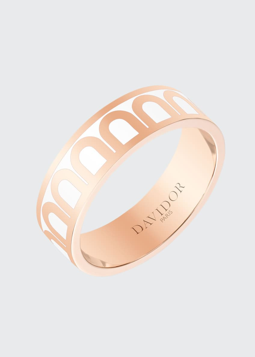 Image 1 of 1: L'Arc de Davidor 18k Rose Gold Ring - Med. Model, Neige, Size 57