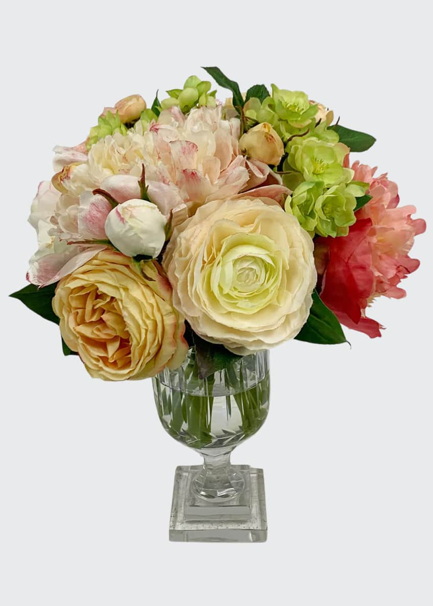 Image 1 of 1: Peony Rose Arrangement in Cut Vase