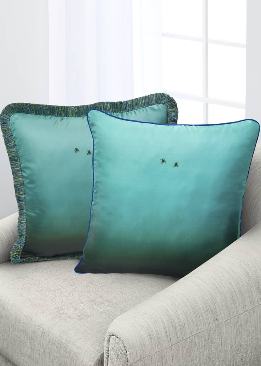 Image 2 of 2: Fly On The Wall Turquoise Silk Pillow