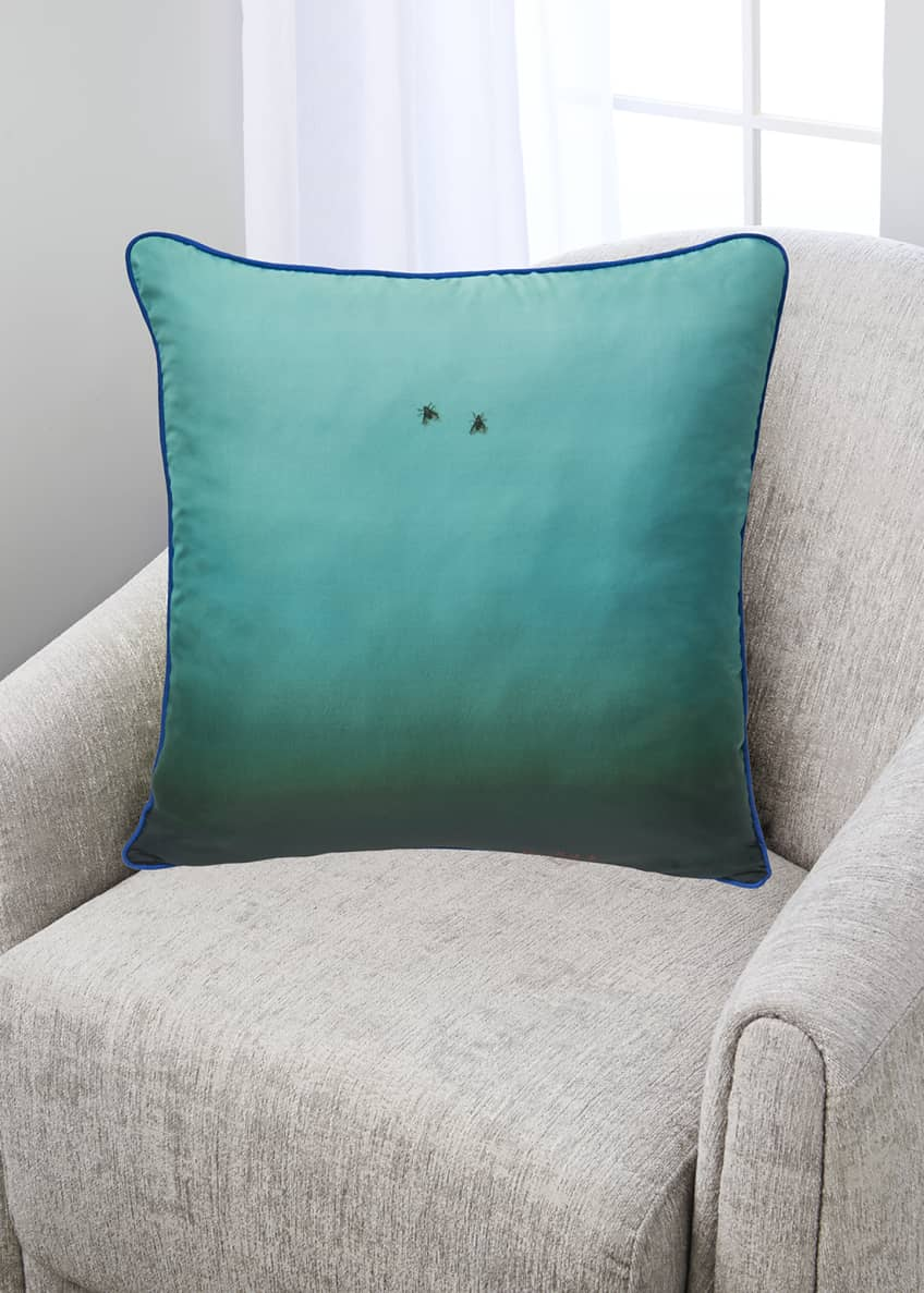 Image 1 of 2: Fly On The Wall Turquoise Silk Pillow