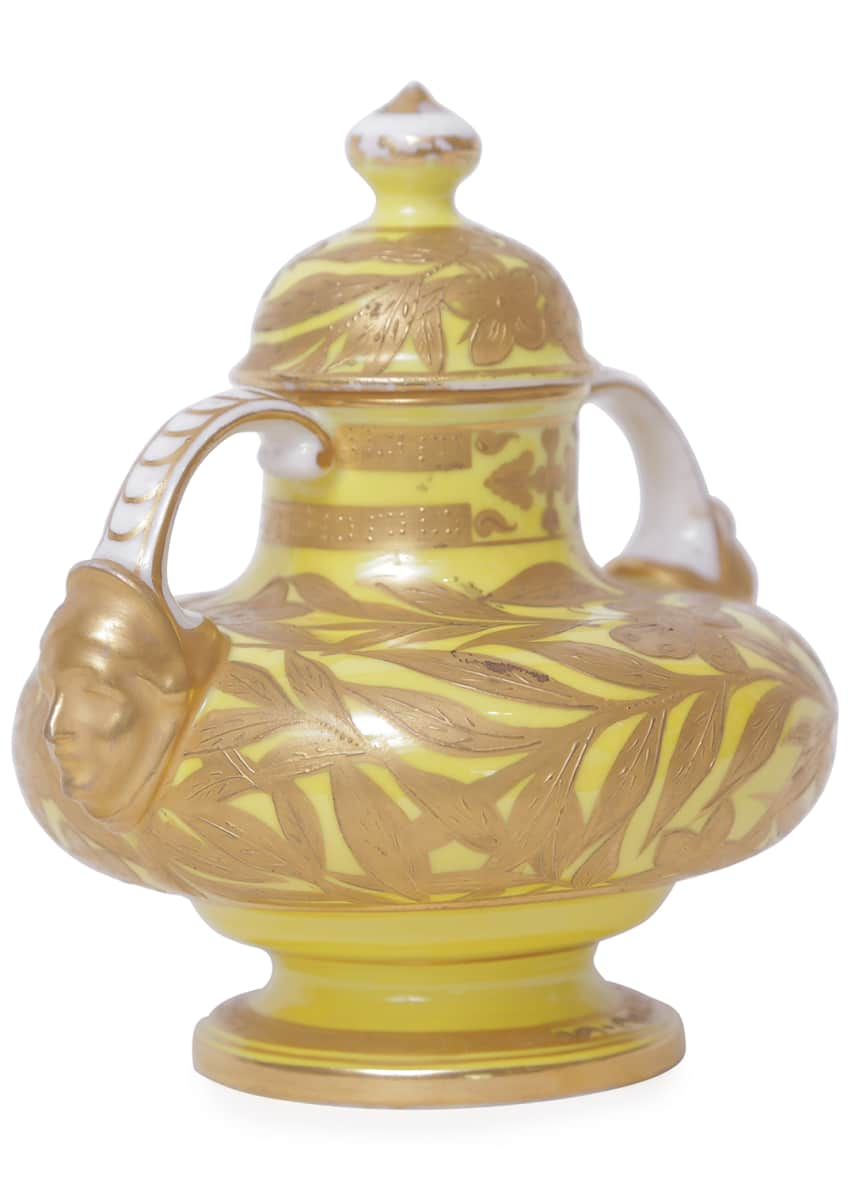Image 3 of 5: Antique English Yellow Ground Heavily Gilded Vase with Face Handles