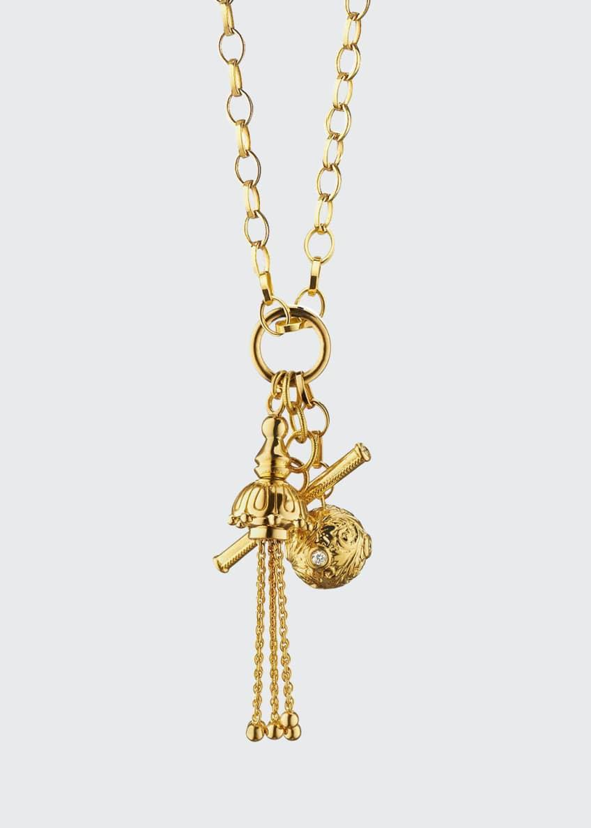 Monica Rich Kosann 18k Gold Tassel/Toggle/Ball Charm Necklace
