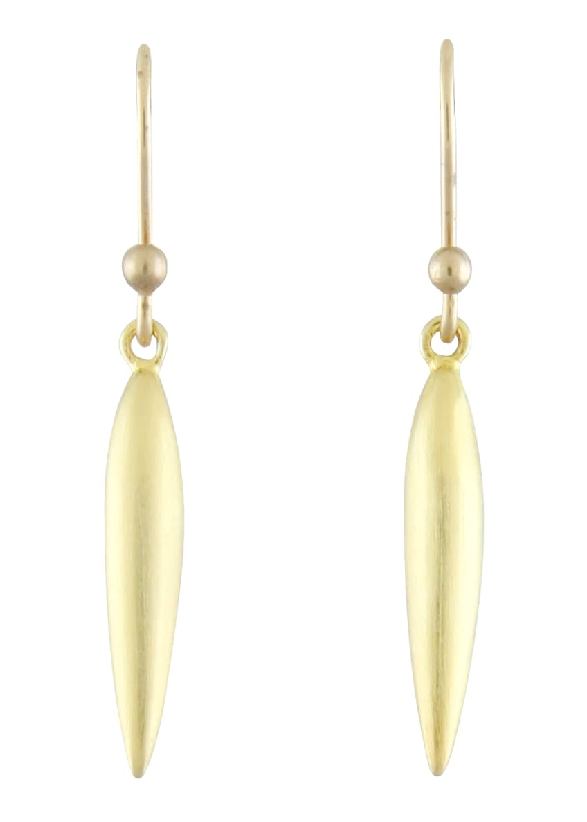 Image 1 of 1: Small Brushed Green Gold Rice Earrings