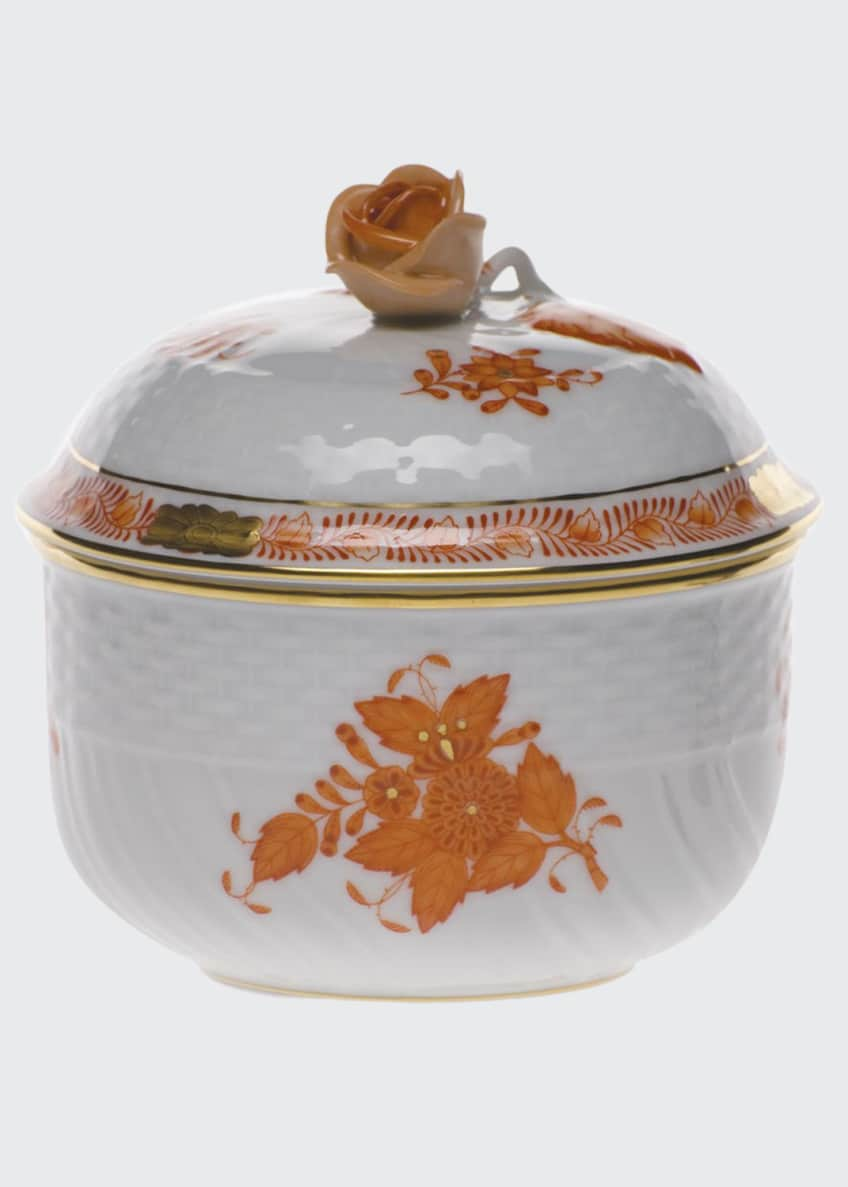 Herend Chinese Bouquet Rust Sugar Bowl