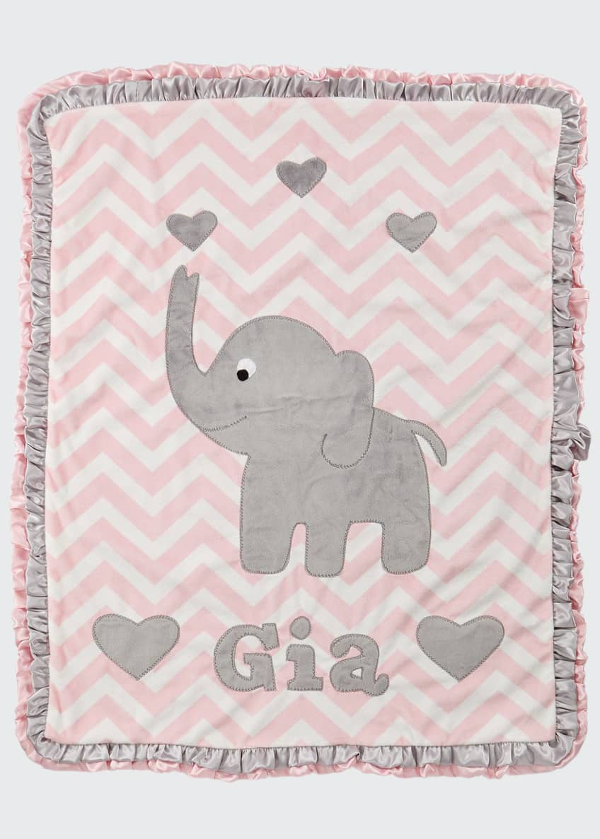 Image 1 of 1: Plush Chevron Elephant Blanket, Pink