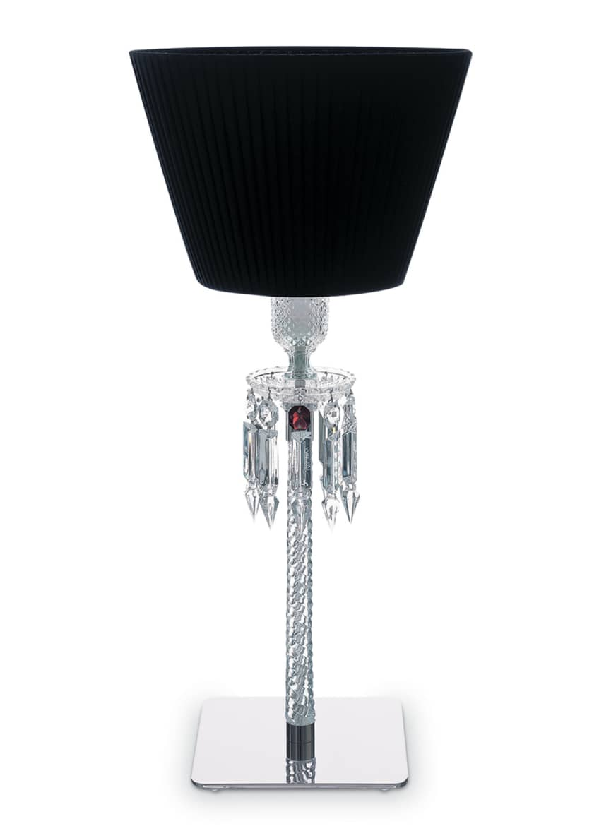 Baccarat Torch Crystal Desk Lamp with Black Shade