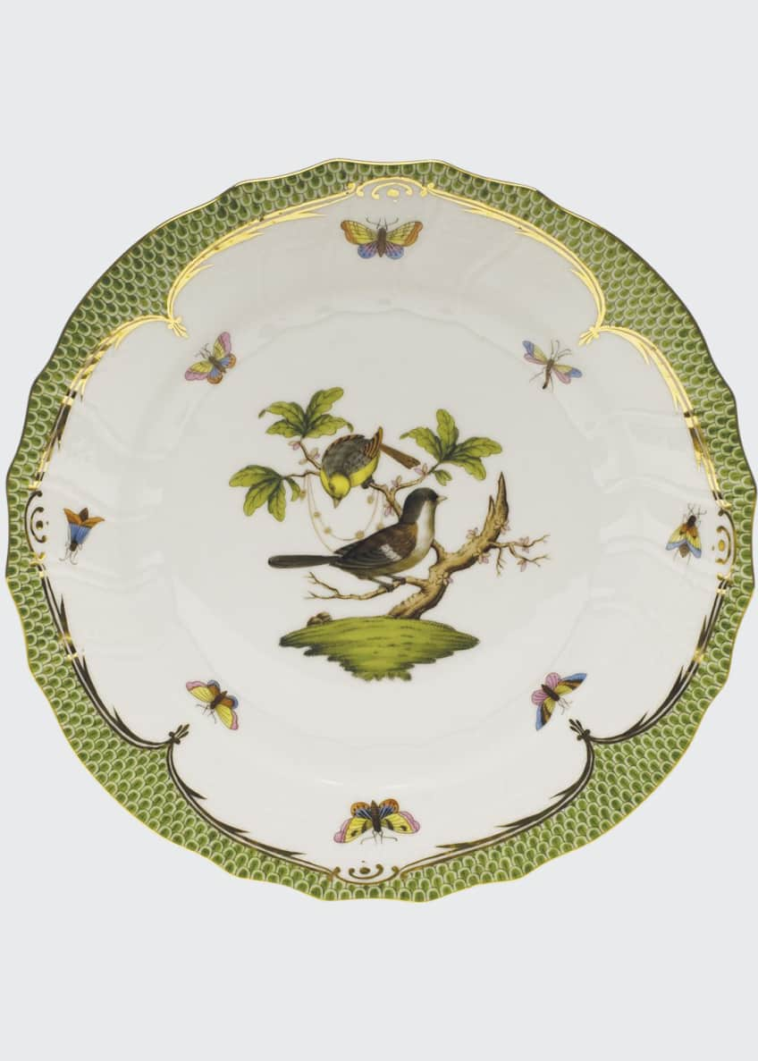 Herend Rothschild Bird Green Border Dinner Plate #1