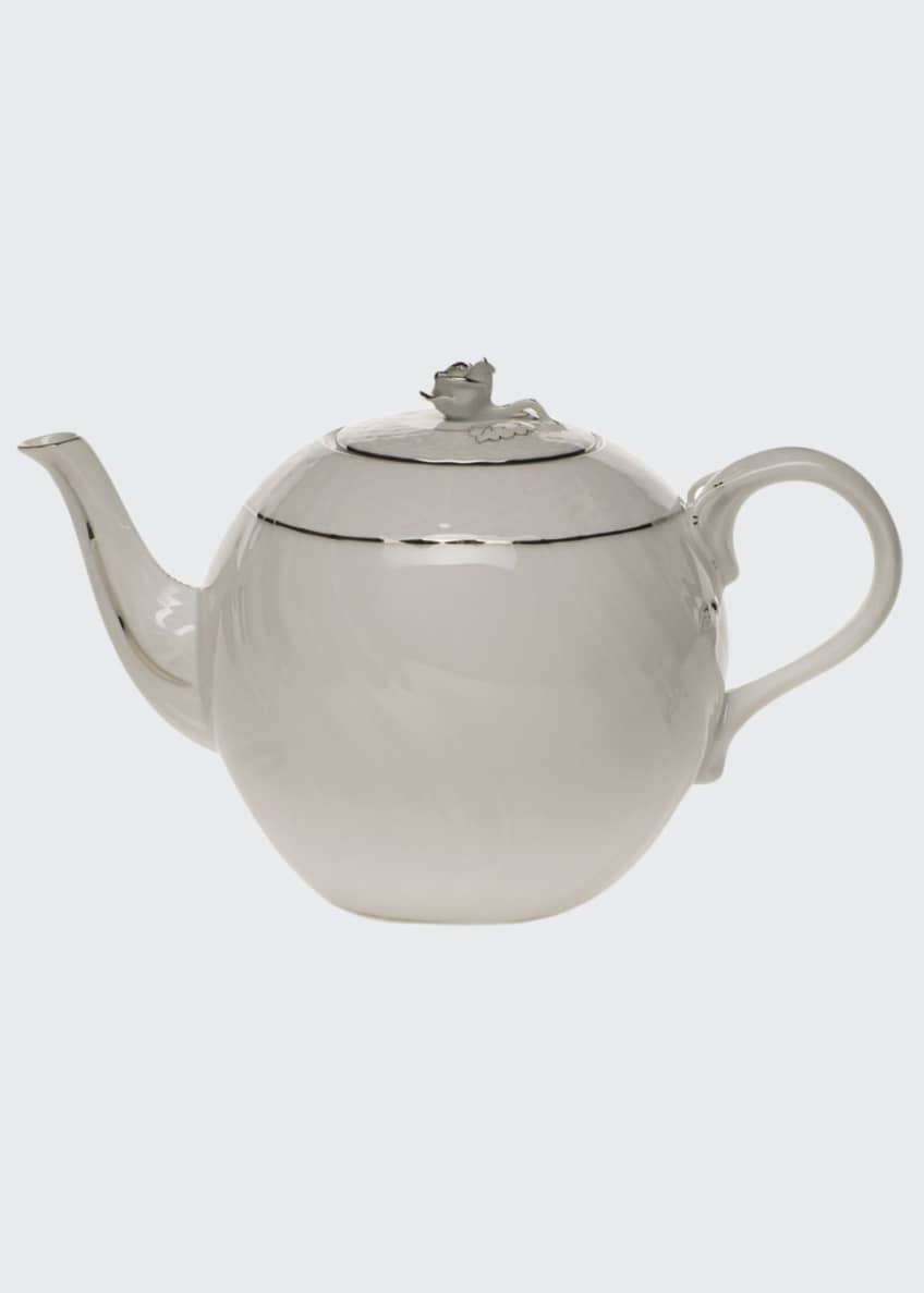 Herend Platinum Edge Teapot with Rose
