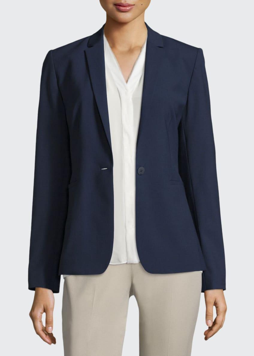 Elie Tahari Darcy One-Button Stretch-Wool Jacket, Anabella Silk