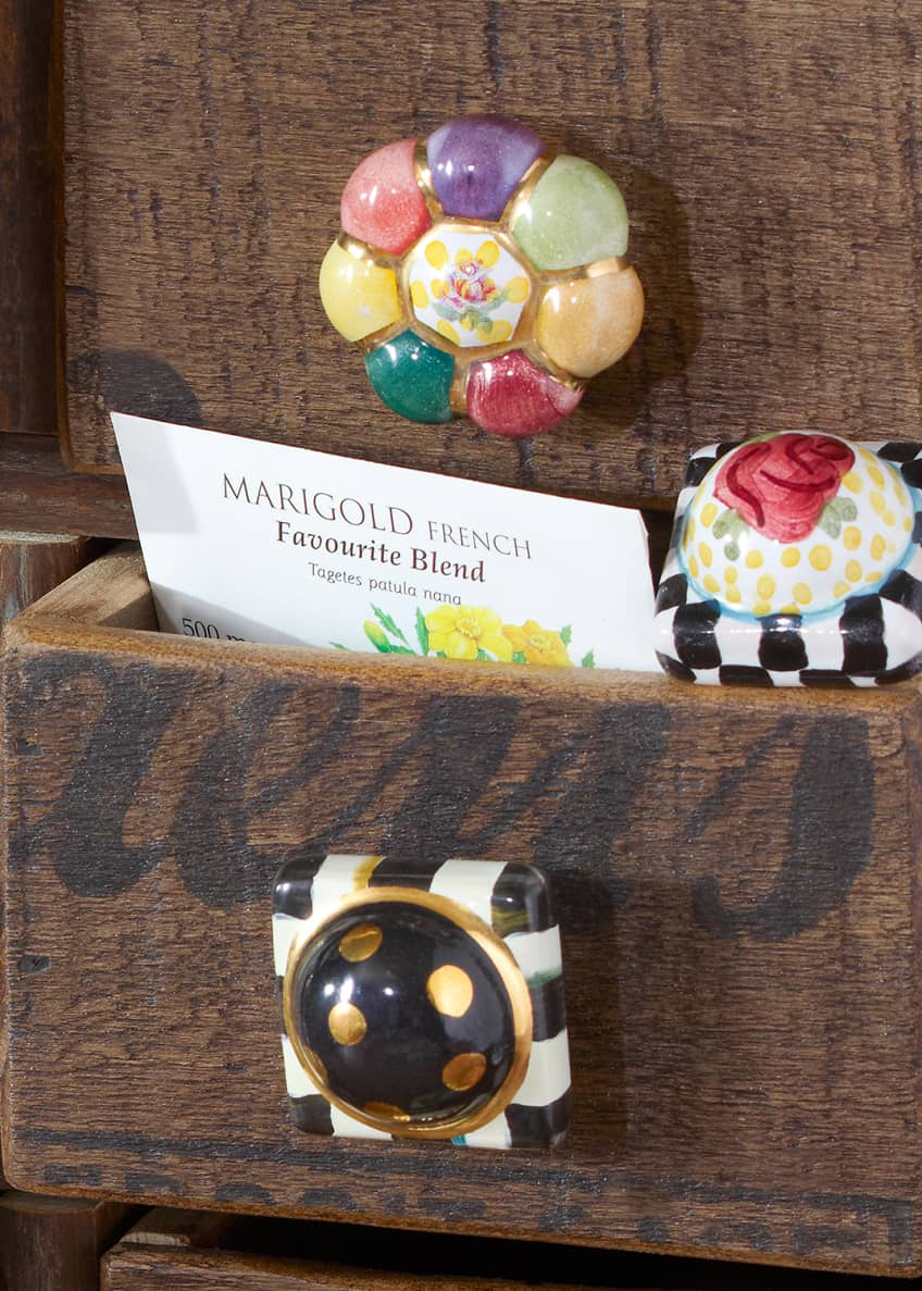 Image 2 of 4: Flower Rosie Posie Majolica Decorative Knob