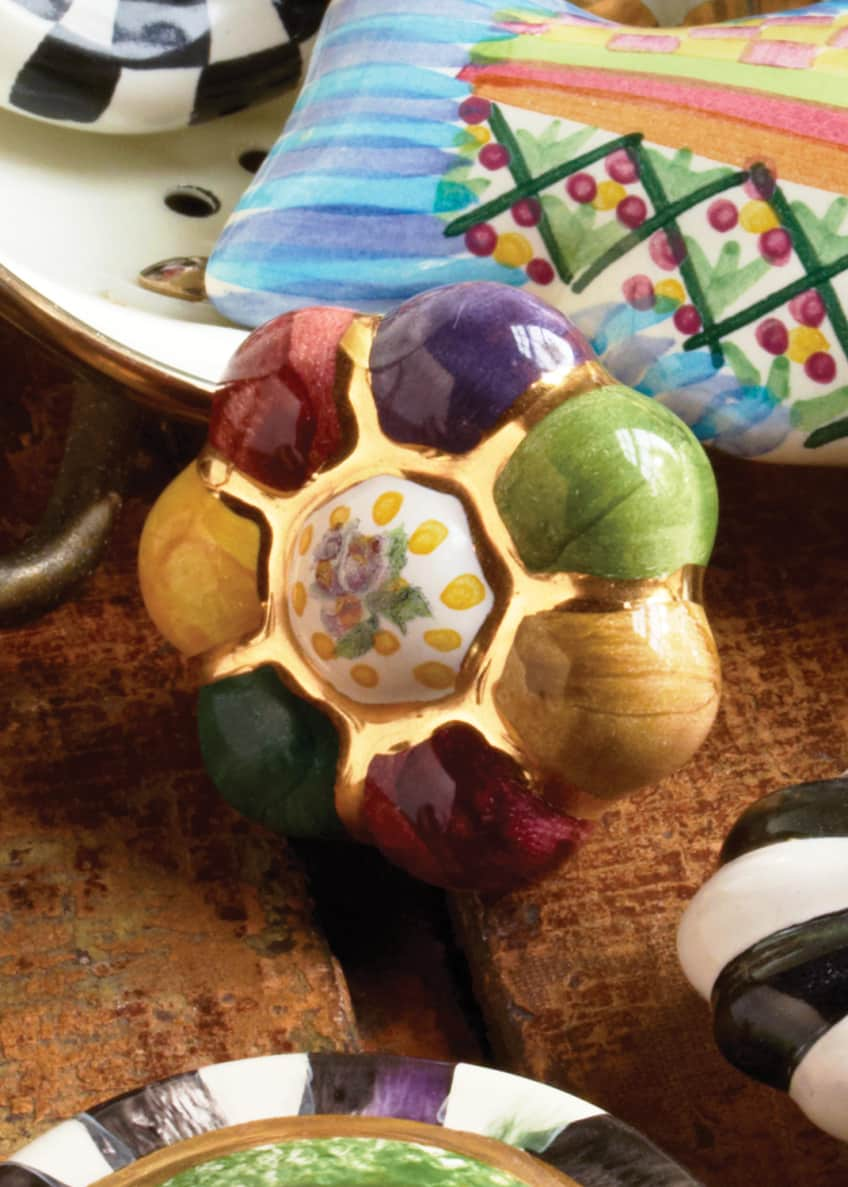 Image 4 of 4: Flower Rosie Posie Majolica Decorative Knob