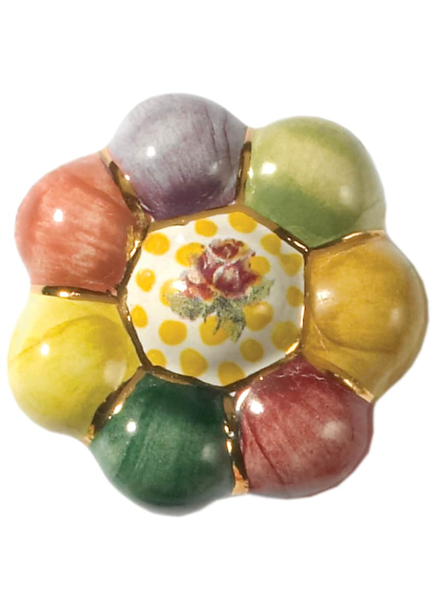 Image 1 of 4: Flower Rosie Posie Majolica Decorative Knob