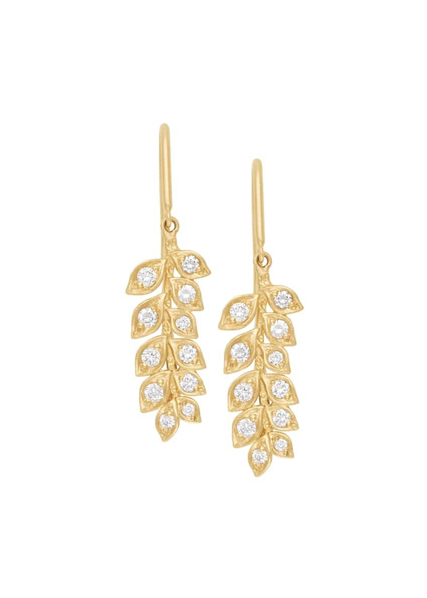 Jamie Wolf 18k Small Diamond Vine Drop Earrings
