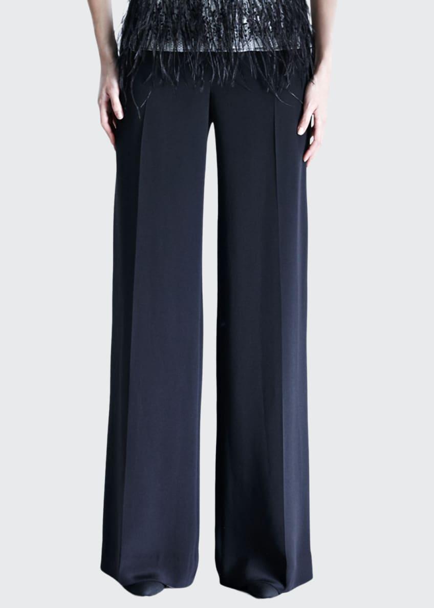 Carolina Herrera Chantilly Lace-Sleeve Blouse & Silk Crepe