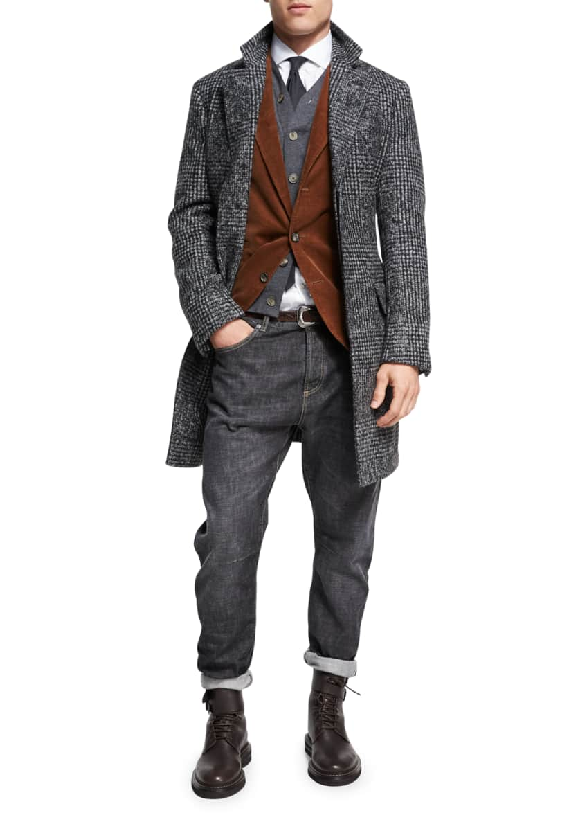 Image 1 of 3: Fine-Gauge Wool-Cashmere Cardigan Vest and Matching Items