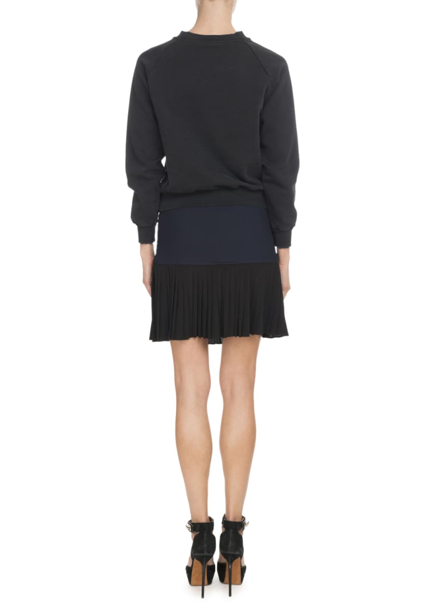 Image 4 of 4: Front-Zip Heavy Wool Crepe Skirt w/ Pleated Bottoms