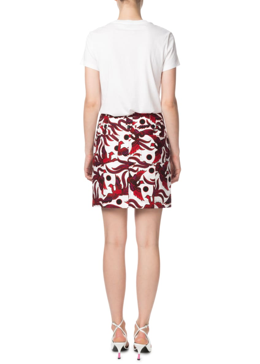 Image 4 of 4: Structured Phoenix-Print Mini Skirt
