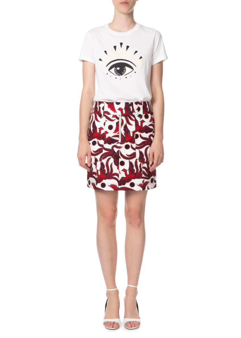 Image 3 of 4: Structured Phoenix-Print Mini Skirt